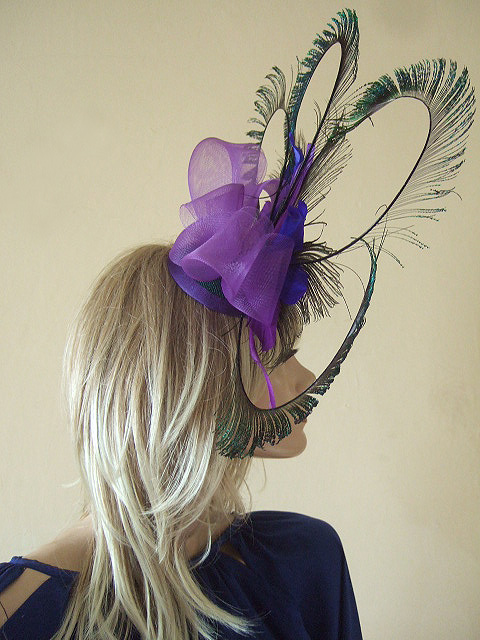 df5286d4 Purple Teal Blue Green Peacock Feathers Fascinator Headpiece Hat for Mother  of the Bride, ...